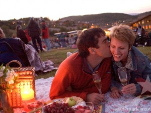 couple having picnic at outdoor concert at Deer Valley Resort, Park City, UT USA