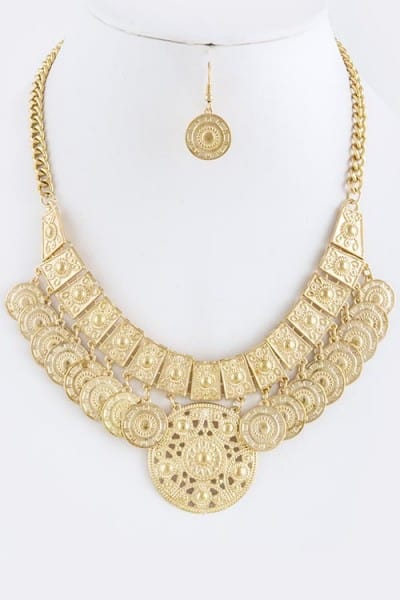 Baublefied Exotic Ethnic Looka Goldtone Baroque Coin Style Statement Bib Collar Necklace and Earring Set