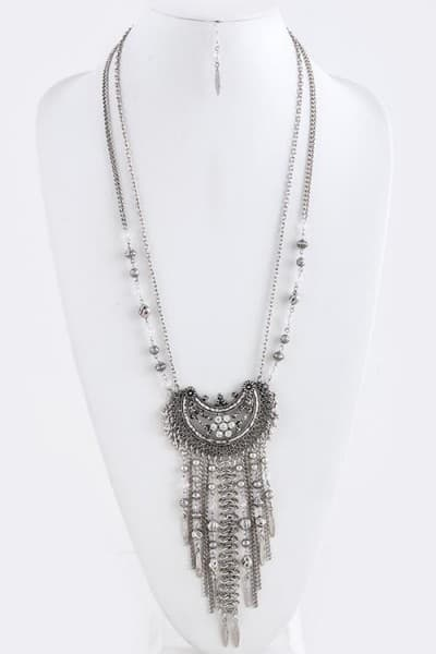 Baublefied Exotic Ethnic Looks Antique Silvertone Fringed Crescent Pendant Dual Chain Necklace and Earring Set