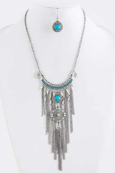 Baublefied Exotic Ethnic Looks Tribal Design Fringe Drop Necklace and Earring Set