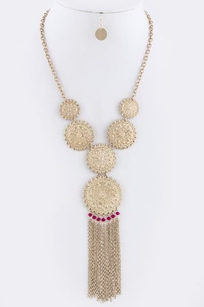 baublefied Exotic Ethnic Looks Gold Medallion with Fringe and Fuchia Beads Necklace and Earring Set